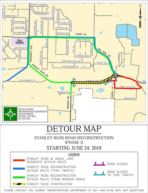 Detour Map - Stanley Russ Road - City of Conway, Arkansas